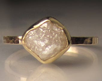 Raw Diamond Engagement Ring, 14k Yellow Gold Rough Diamond Ring, Hammered Rough Diamond Ring, 2.12CTS