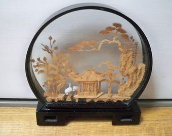 Vintage Collectible Hand Carved Cork Asian Scene in Lacquer Display Case 3 D