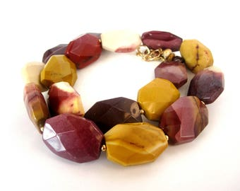 Mookaite Necklace, Faceted Mookaite Necklace, Mookaite Jewelry, Mookaite Bead, 14K Gold Fill, Mookaite Jasper Beaded Necklace, Gold Jasper