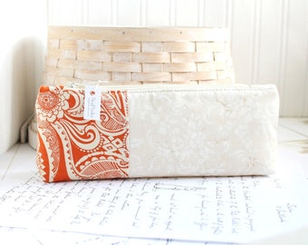 Pencil Case Orange Floral Pencil Pouch Organizing Back to School Student
