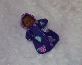 5-LITTLEHEAD-HS-57) 5 inch Lil Cutesies Berenguer baby doll clothes( little head) 1 flannel hooded sleeper with panties