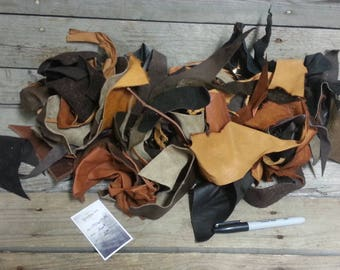 Natural Brown Color Salvaged Leather Scraps - Buckskin Leather Pieces -2 Pounds- Lot No. 170605-M