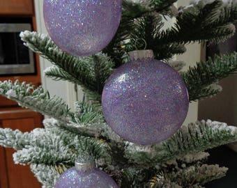 Set of 3 Lilac Glass Orbs Christmas Tree Ornaments