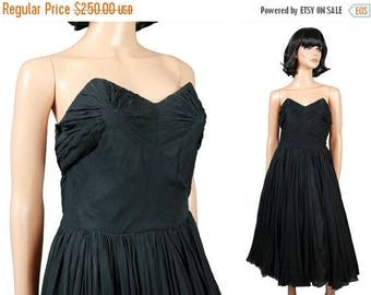 ON SALE SALE! 50s Strapless Prom Dress Sz S Vintage Black Silk Chiffon Cocktail Evening Gown Free Us Shipping