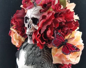 OOAK  Crimson Butterfly Headdress with Trailing Black Lace for Day of the Dead/Dia de los Muertos/Costume/Wedding