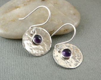 February Birthstone Earrings, Sterling Silver Drop Earrings, Amethyst Drop Earrings, Silver Gift Item, Purple Earrings, 925 Silver Jewelry
