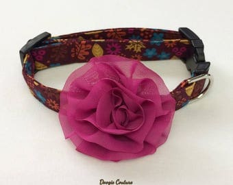 Fabulous Fall Floral Dog Collar With Flower Attachment Size XS through Large by Doogie Couture Pet Boutique
