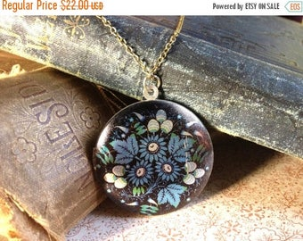 30% OFF Colourful Locket Necklace - Folk Art Floral Pattern - SIlver Blue Flowers Necklace - Vintage European Fabric Pattern Necklace