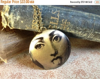 30% OFF Locket Necklace - Victorian Lady - Surreal Jewellery - Vintage Illustration - Elegant Unusual Necklace