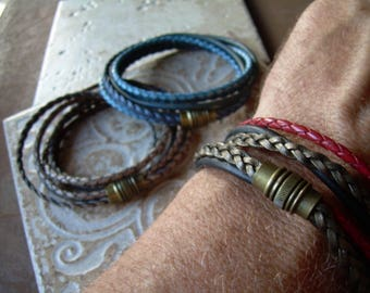 Mens Bracelets Leather, Leather Bracelet, Mens Bracelet, Antique Brass Magnetic Clasp, Magnetic Bracelet, Mens Bracelet, Womens Bracelet