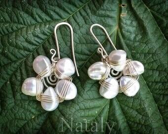 Keshi Pearl Earrings, Flower Earrings, Wire Wrapped Sterling Silver Earrings, Bridal Earrings, Mother in Law Gift Nature Lover Gift for Wife