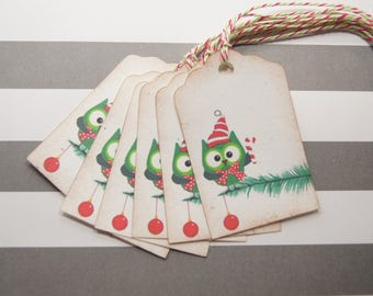 Tags Christmas Owl on Christmas Tree Christmas Gift Wrapping Set of 10 - T206