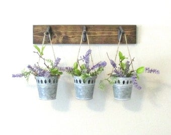 Industrial Farmhouse Wall Decor...3 Hanging Galvanized Metal Pots..Stained Wood Boards..Rustic Wall Decor..Home Decor..Ready to Ship
