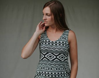 Womens Cotton Rayon Blend Jersey Knit Tank top  Made in the USA - Made to Order - Tribal Print Tank