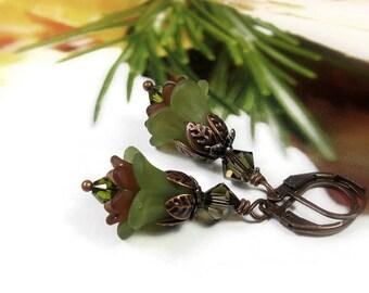 Autumn Earrings, Green and Brown Earrings, Copper Jewelry, Swarovski Earrings, Fall Flower Earrings, Vintage Style Jewelry, Gifts Under 25