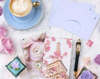 Paris in Bloom Notecards, Paper Goods, Paris Stationery, Eiffel Tower, Peonies, Ranunculus
