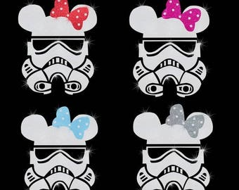 "SALE 8.5"" tall Minnie Mouse Stormtrooper iron on glitter Disney Star Wars transfer DIY applique DIY patch"