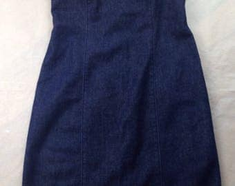 Vintage 90s GAP strapless denim dress grunge clubkid raver y2k minimalist
