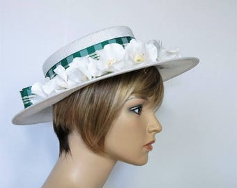 White Straw Hat Vintage Early 1900's Mid 1900's Lady's Boater Hat Flat Wide Brim Panama