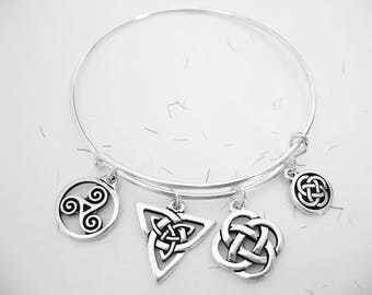 Silver BANGLE CELTIC Triskellion IRISH  Trinity Knot, Celtic Endless knot Charm Bracelet-Ireland Jewelry
