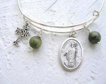Irish CONNEMARA Marble St Patrick/St Patrick Cathedral NYC Silver Bangle Celtic Cross Irish Charm Bracelet-Ireland Bracelet