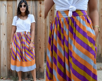 Vintage Andrea Odicini Striped HIGH WAIST Midi Skirt with Pockets S