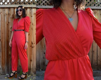 Vintage Late 70s Early 80s RED Disco JUMPSUIT S M