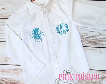 Monogram Dance Revue Cover Up | Dance Cover Up | Ballet | Dance Review | Dance Recital Shirt | Monogrammed Oxford