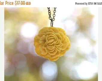 CHRISTMAS in JULY SALE Mustard Yellow Peony Flower Necklace // Bridesmaid Gifts // Bridesmaid Necklaces // Country Wedding