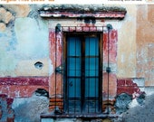 SUMMER SALE-Ends July 5- Antigua Guatemala Photo, Rustic Wall Red Blue Window Mexico Photograph Southwestern Style Shabby Chic Wall Art lat3