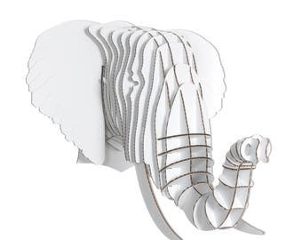 Eyan Cardboard Elephant Head - Giant - White