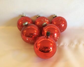 Lot of 6 Vintage Red Glass Christmas Ornaments