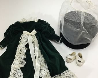 Vintage Dark Green Velveteen Dress and White Shoes for a 16 inch Doll
