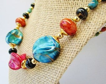 """Vintage Fruit Salad Tutti Fruitti Huge Chunky 80's  Necklace Choker Abstract Gold Swirled Beads Bright Vibrant 22"""" Baroque Summer Beachy"""