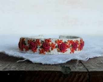 Floral Bracelet - Fabric Cuff Bracelet - Gift For Her - Hand Embroidered Cuff - Gift For Mom - Gift Under 50 - OOAK jewelry - Red Rose Cuff