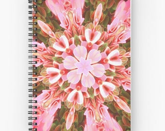 Pink floral spiral notebook,mandala planner,flowers journal,abstract art notepad,memo pad,writing pad,hardcover notebook,desk accessories