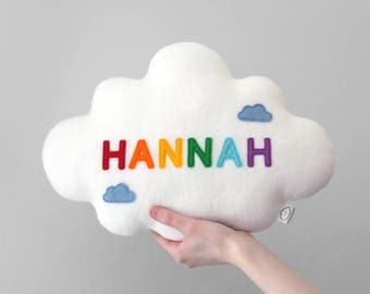 Name Cloud Cushion, Personalised Plushie, Rainbow Letters, White Cloud, Nursery Decor