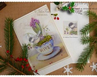 Carte Impression Hiver - Tasse hiver, oiseau , mousse et Jacinthe  Perce neige  © Hélène Flont Designs