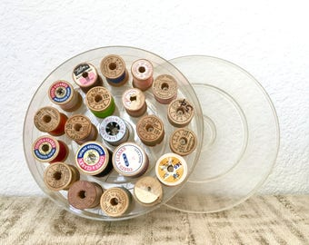 Vintage Wooden Spool Collection with Storage Box, Lot of 20, Instant Collection