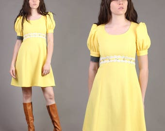 vintage LEMON DROP yellow puff sleeve empire dolly lace babydoll mini dress hippie 70s 1970s extra small XS