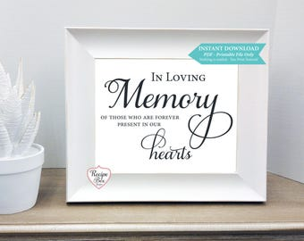 In Memorandum, In Loving Memory of those who are forever present in our hearts, Remembrance Sign, Printable Download Printable Sign, 8x10