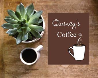 personalized coffee art, coffee print, coffee decor, bridal shower gift, coffee wedding, coffee shop, kitchen art, housewarming gift, java