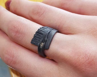 Rustic Black Silver Ring, Sequoia Pattern set with Diamond. Asymmetrical band
