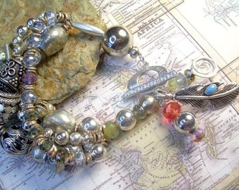 Boho Sterling Vintage Silver Plate And Brass Bead Bracelet With Czech Glass Beads