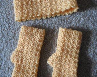 Headband and Gloves - Crochet Fingerless Gloves with Matching Headband in Yellow Acrylic Wool