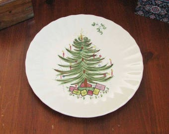 Antique hand-painted ceramic Christmas plate