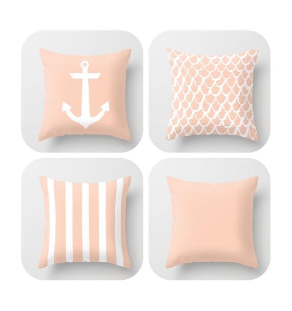 OUTDOOR Throw Pillow . Pale Peach Mermaid Pillow . Coastal Patio Cushion . Anchor Pillow . Peach Stripe Pillow . 16 18 20 inch . Rectangle