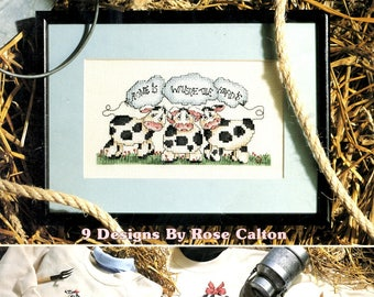 Home Is Where The Herd Is Cows Field Gothic Patriotic Pocket Stacked Counted Cross Stitch Embroidery Craft Pattern Leaflet Leisure Arts 2236