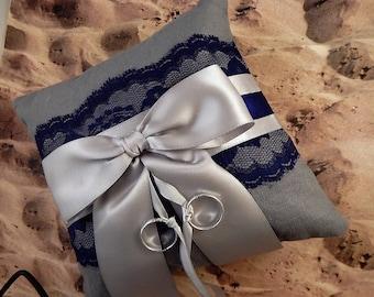 Wedding Ring Pillow Navy Blue Gray Lace Navy Gray Satin Brides Ready To Ship Wedding
