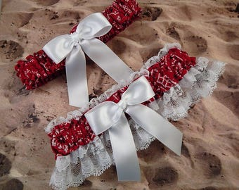 Red Bandana Paisley White Bow White Lace Country Wedding Garter Toss Set
